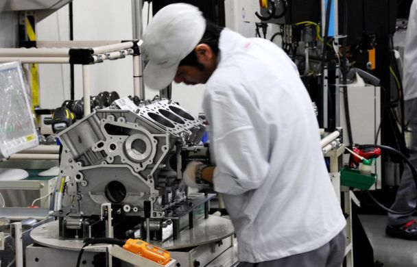 Nissan Engine Being Made in Factory